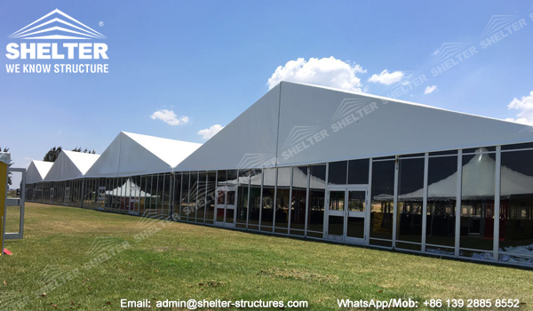 25x100m clear span conference hall - large exhibition tent with glass wall in Zimbabwe (8)
