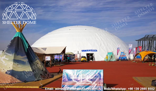 SHELTER Dome Construction - Large Geodome Tent for Exhibition, Reception and Launches - Diameter 50m Dome House with White Cover Membrane -4
