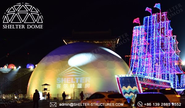Shelter Geo Dome Tent for Projection Show in Lighting Festival - Large Geodome Tent with PVC Fabric 25