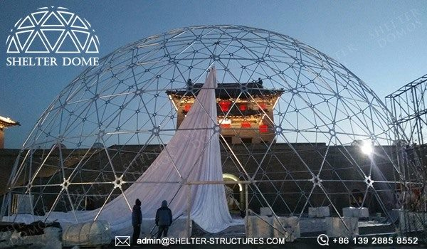 Shelter Geo Dome Tent for Projection Show in Lighting Festival - Large Geodome Tent with PVC Fabric 9