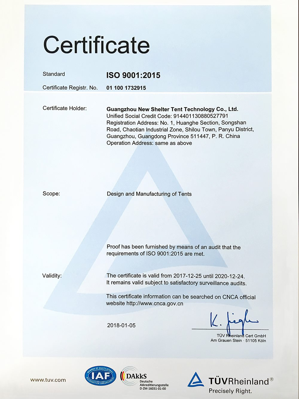 1000 ISO 9001 2015 certification