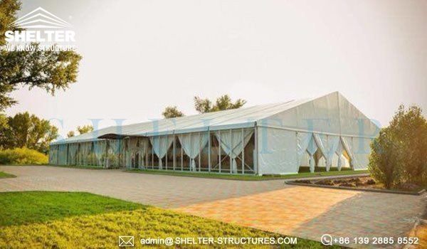 25 by 50m wedding marquee with glass wall - 1000 seater tent used as wedding banquet hall (6)