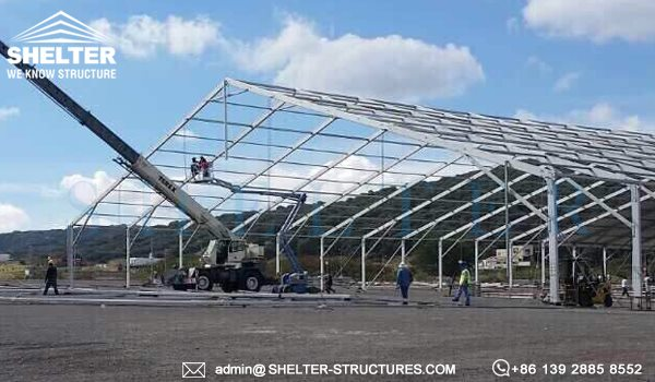 shelter large clear span tent - aluminum structure building