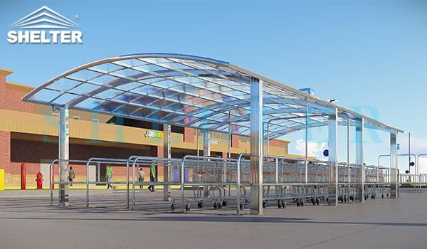 carport and patio cover-shopping car shelter- awning for commercial use