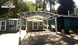 gazebo-cover-arched roof double carport-Sunshield Alum Carports in USA