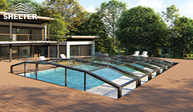 Low-height-pool-cover-telescopic-pool-enclosures-Shelter-pool-sunroom